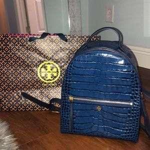 Tory Burch Navy Blue Mini Leather Backpack